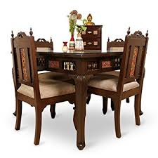 dining table set 4 seater exclusivelane teak wood 4 seater dining table chair with warli