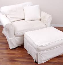 Slipcover Chair And Ottoman Arhaus Chair And Ottoman With Camden Collection Slipcovers Ebth