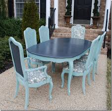 blue painted dining table painted vintage thomasville dining table and chairs annie sloan