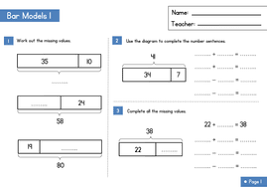 bar modelling worksheet part whole questions by wrmaths