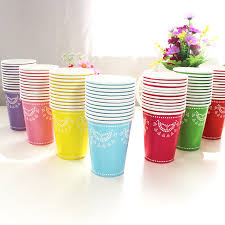 disposable cups 24pcs lace paper cups blue pink 7color thickening