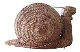 large vintage wicker snail basket chairish