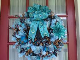 turquoise and brown peacock deco mesh door by crazyboutdeco on zibbet