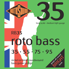 Medium Light Guitar Strings by Rotosound Nickel Medium Light Gauge Roundwound Bass Strings 35 55