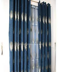 Peacock Curtains Saving Embroidery Peacock Blue Curtains Of Chenille