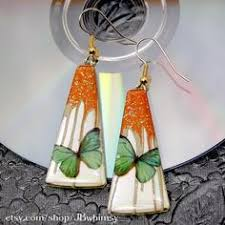 cd earrings orange and black monarch butterfly wings earrings handmade