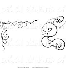 illustration of black and white swirl corner designs by