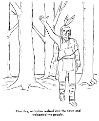 the pilgrims coloring pages samoset welcomes the pilgrims coloring