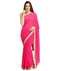neon blouse buy neon pink pearl border georgette saree with running blouse