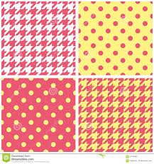 yellow with pink polka dots houndstooth and polka dots seamless pastel yellow pink and white