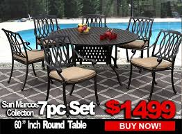 patio furniture sale san marcos 7 piece set with 60 inch round