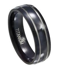 titanium wedding bands for men mens black titanium ring silver rows