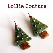 felt earrings christmas tree felt earrings winter jewelry green silver
