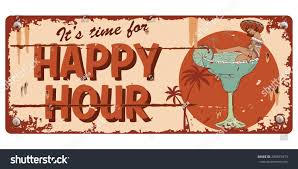 happy birthday margarita glass vintage happy hour sign illustration mexican stock vector