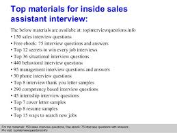 inside sales assistant interview questions and answers