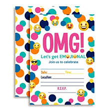 birthday party invitations emoji birthday party invitations ten 5 x7 fill in