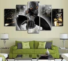 online get cheap spiderman live aliexpress com alibaba group 5 pieces black spiderman hd pictures printed canvas for wall art living room home decor