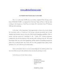 job reference letter nurse