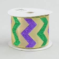 mardi gras ribbon 2 5 mardi gras chevron ribbon 10 yards rg1013 craftoutlet