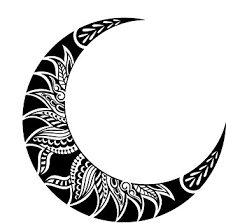 amazon com pretty black and white crescent moon with mandala flower