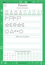 patterns of shapes and numbers math practice worksheet grade 1