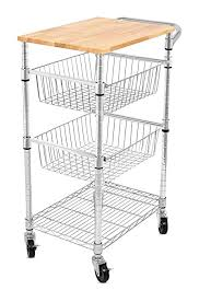 kitchen island trolley amazon com s best 3 tier kitchen cart with wire baskets