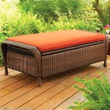 Patio Storage Ottoman Deck Storage Bench Wicker Patio Storage Bench With Orange Padded