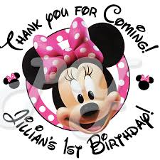 minnie mouse personalized birthday stickers