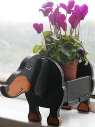 dachshund plant pot holder garden ornaments decorations
