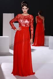 prom dresses online red lace net applique long sleeve v back