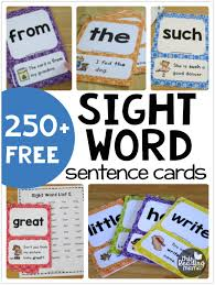 words cards free sight word sentence cards this reading
