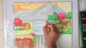 beautiful scenery drawing for kids youtube