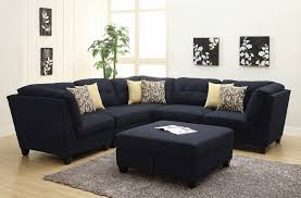 Black Fabric Sectional Sofas Coaster 503451 6 Pc Keaton Collection Midnight Blue Black Linen