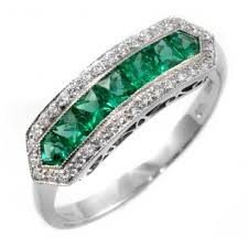 emerald rings uk platinum emerald diamond eternity deco style ring