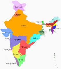 India Geography Map by States And Union Territories Of India By The Most Commonly Spoken