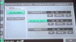 como configurar ip en la bizhub c451 c550 c650 youtube