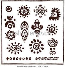 ethnic ornaments petroglyph icons stock vector 108373994