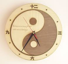 Wooden Wall Clock Wooden Wall Clock Yin Yang Engrave Your Text