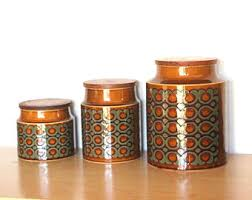 pottery canisters kitchen retro canisters etsy