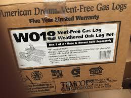 temco vent free 3 piece fireplace split bark logs part wo18