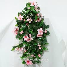 70cm pink hibiscus cheap artificial plastic flower hanging bush