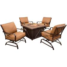 Patio Furniture Sets With Fire Pit by Hanover Summer Nights 5 Piece Patio Fire Pit Set With 4 Cushion