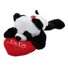 valentines day stuffed animals 20 s floppy panda with heart seasonal