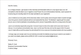 ideas collection recommendation letter sample intern with template