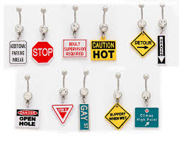 navel jewelry 3 pack of assorted roadsign belly rings