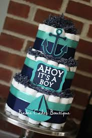 anchor theme baby shower 3 tier navy and teal nautical cake boy baby shower