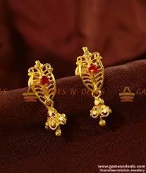 kerala style earrings er459 trendy college wear guarantee chidambaram gold plated earrings