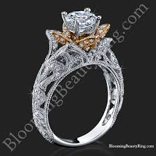 carved engagement rings carved blooming flower engagement ring with gold