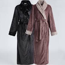 men fur plus size extra long thermal flannel bathrobe mens