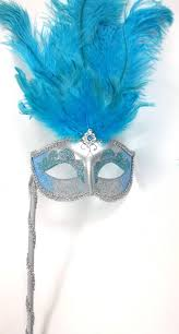 blue mardi gras turquoise aqua blue silver feather venetian stick masquerade mardi